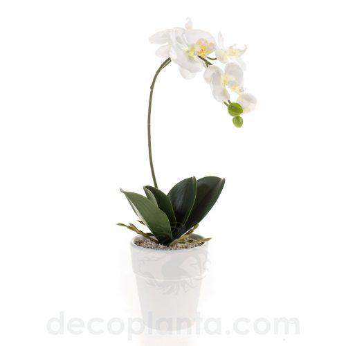 Orquídea artificial Phalaenopsis de alto realismo. 40 cm de alto con maceta de 10 cm en color blanco.