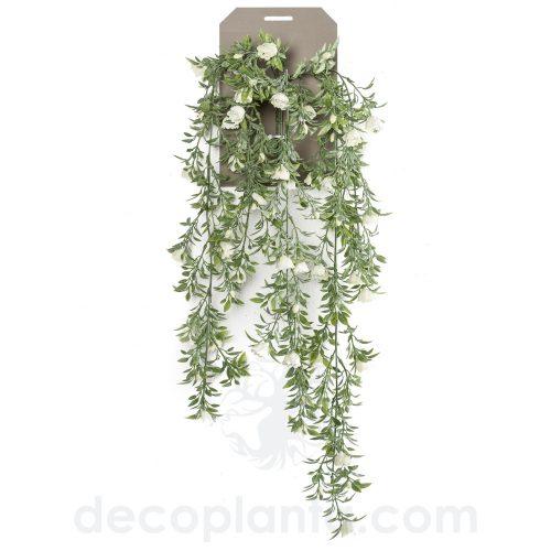 Planta Colgante artificial de ROSAS BLANCAS de 75 cm de largo.