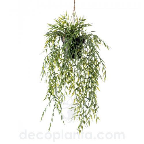 Planta colgante de techo BAMBÚ artificial en maceta y cuerda de macramé para colgar
