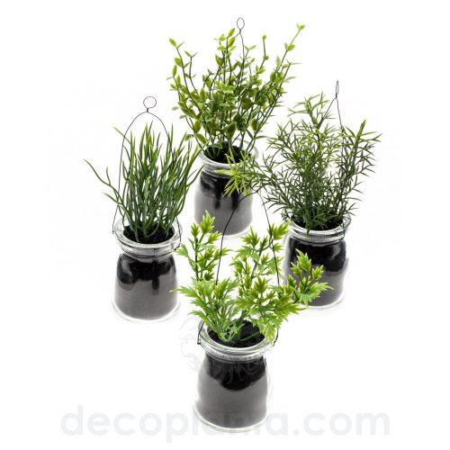 Conjunto de 4 plantas de hierba de 14 cm de altura, en botella de vidrio con asa de alambre para colgar