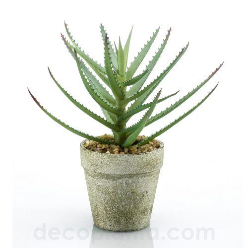 Planta de ALOE VERA artificial en maceta de cemento. 18 cm de altura