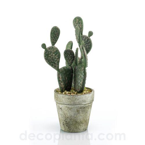 Cactus plano mini artificial de 20 cm de altura, en maceta