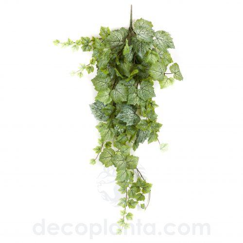 Planta Colgante HOJA DE PARRA artificial de 100 cm. Color verde/blanco.