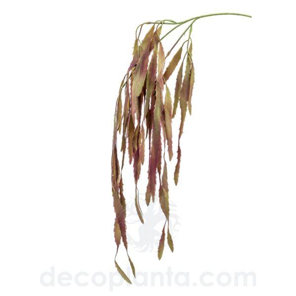 """Planta Colgante RHIPSALIS artificial color """"burdeos apagado"""". Altura total: 80 cm. Perfecta para decorar pérgolas o plantadas en macetas de pared o complemento para diseñar tu propio jardín vertical."""