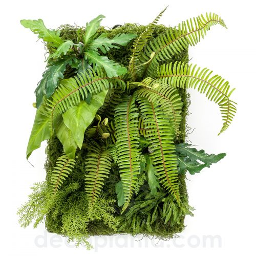 Jardín vertical modelo SALVAJE artificial de máxima frondosidad con hojas y helechos de gran tamaño en placa de 60 X 40 cm. Válido para interiores.
