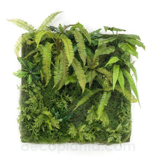 Jardín vertical SALVAJE MUSGO y HELECHO de máxima frondosidad con hojas y helechos de gran tamaño en placa de 100 X 100 cm. Válido para interiores.