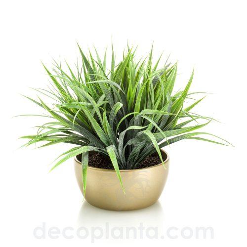 Arbusto de hierba artificial de 33 cm de altura total, con cuenco acabado oro de 18 cm.